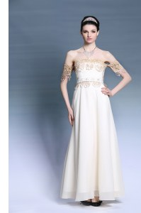 New Arrival Off The Shoulder Short Sleeves Homecoming Dress Online Floor Length Appliques White Satin