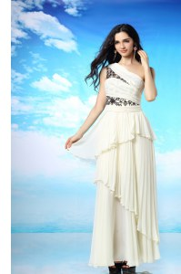 Ruffled Ankle Length White Dress for Prom One Shoulder Sleeveless Side Zipper
