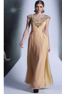 Chiffon Scoop Cap Sleeves Side Zipper Beading and Appliques Prom Party Dress in Peach