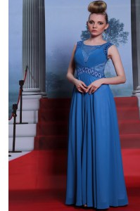 Ideal Scoop Blue Side Zipper Prom Evening Gown Beading and Ruching Sleeveless Floor Length
