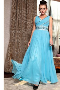 Sleeveless Side Zipper Ankle Length Beading and Appliques and Ruching Prom Party Dress