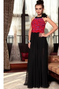 Great Scoop Red And Black Column/Sheath Ruching and Hand Made Flower Dress for Prom Side Zipper Chiffon Sleeveless Floor Length