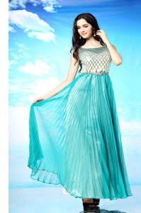 Fine Scoop Sleeveless Side Zipper Floor Length Pleated Homecoming Dress