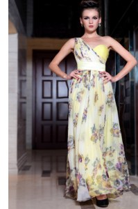 Fantastic One Shoulder Light Yellow Chiffon Side Zipper Prom Dress Sleeveless Floor Length Beading and Pattern