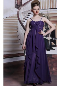 Purple Sleeveless Floor Length Beading Side Zipper Prom Party Dress