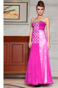 Enchanting Column/Sheath Prom Evening Gown Fuchsia Sweetheart Chiffon Sleeveless Ankle Length Side Zipper