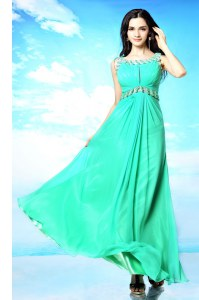 Artistic Scoop Turquoise Backless Hoco Dress Beading Sleeveless Floor Length