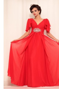 Red Short Sleeves Beading Floor Length Prom Party Dress