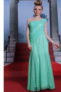 Column/Sheath Pageant Dress Womens Turquoise One Shoulder Chiffon Sleeveless Floor Length Side Zipper