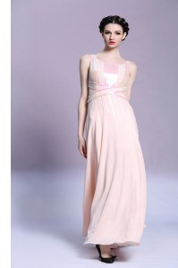 Popular Peach Criss Cross Square Pattern Prom Party Dress Satin Sleeveless