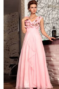 Discount Appliques Prom Party Dress Baby Pink Zipper Sleeveless Floor Length