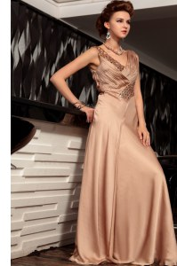 Brown V-neck Backless Beading and Ruching Evening Outfits Sleeveless