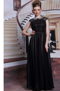 Captivating Black Prom Dresses Prom and Party and For with Beading and Appliques Scoop Sleeveless Zipper