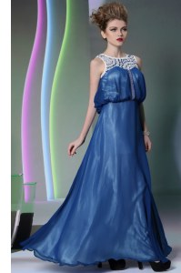 Super Navy Blue Empire Scoop Sleeveless Chiffon Floor Length Zipper Beading Formal Dresses