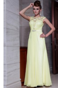 Artistic Scoop Light Yellow Cap Sleeves Chiffon Zipper Prom Dress for Prom and Party