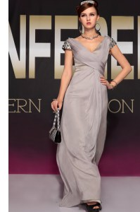 Cheap Short Sleeves Chiffon Sweep Train Backless Evening Dress in Grey with Beading and Ruching