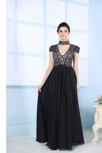 Traditional Black Chiffon Zipper High-neck Short Sleeves Floor Length Beading and Lace