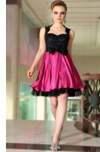 Inexpensive Pink And Black Satin Side Zipper Cocktail Dresses Sleeveless Knee Length Beading