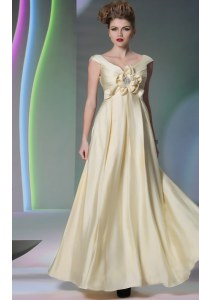 Scoop Light Yellow Cap Sleeves Beading and Ruching and Hand Made Flower Floor Length Dress for Prom