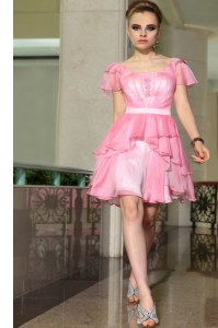 Mini Length Rose Pink Prom Party Dress Square Cap Sleeves Side Zipper