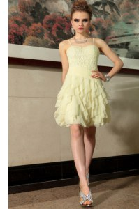 Light Yellow Prom Dresses Prom and Party and For with Ruffled Layers Spaghetti Straps Sleeveless Side Zipper