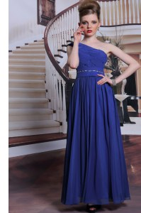 Wonderful One Shoulder Chiffon Sleeveless Floor Length Prom Dress and Beading and Pleated