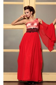 Perfect Floor Length Red Dress for Prom Chiffon Sleeveless Beading