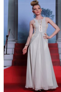 Scoop Silver Sleeveless Beading and Appliques and Ruching Floor Length Prom Dresses