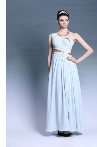 Customized One Shoulder Sleeveless Floor Length Ruching and Belt Backless Dress for Prom with Light Blue