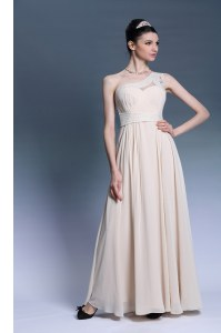On Sale Champagne Chiffon Side Zipper One Shoulder Sleeveless Floor Length Pageant Dress for Girls Beading and Ruching