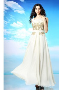 Attractive Chiffon Scoop Sleeveless Side Zipper Beading and Ruching Prom Evening Gown in White