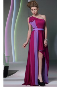 Burgundy One Shoulder Neckline Beading and Sashes ribbons Prom Party Dress Sleeveless Side Zipper