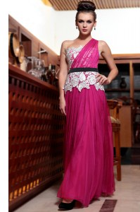 Custom Designed One Shoulder Fuchsia Sleeveless Chiffon Side Zipper Dress for Prom for Prom and Party