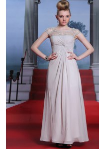 Captivating Silver Sleeveless Beading and Lace and Ruching Floor Length Dress for Prom