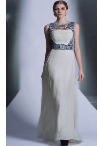 Flirting White Bateau Zipper Embroidery Homecoming Party Dress Sleeveless