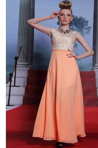 Scalloped Beading Homecoming Dress Orange Side Zipper Sleeveless Floor Length