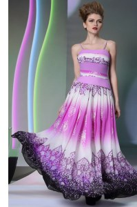 Colorful Empire Prom Evening Gown Multi-color Spaghetti Straps Chiffon Sleeveless Floor Length Side Zipper