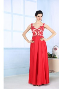 Luxurious Coral Red Sleeveless Chiffon Zipper Homecoming Dress for Prom and Party