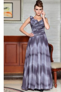 Fashionable Grey Column/Sheath Chiffon V-neck Sleeveless Beading and Ruffles Floor Length Side Zipper