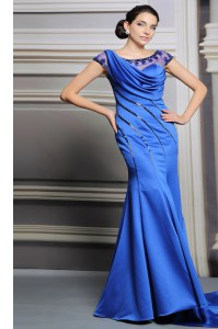 Noble Scoop Sleeveless Prom Dresses Court Train Beading Blue Satin