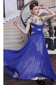 Inexpensive Chiffon Sleeveless Floor Length Prom Party Dress and Sequins and Pleated