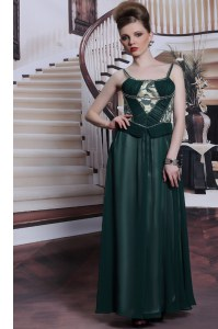 Glorious Teal Column/Sheath Embroidery Prom Gown Zipper Chiffon Sleeveless Floor Length