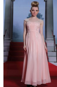 Cap Sleeves Chiffon Floor Length Side Zipper Prom Gown in Baby Pink with Beading