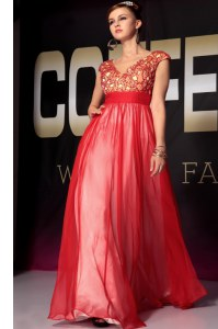 Fashionable Red Empire Appliques and Belt Prom Gown Side Zipper Organza Short Sleeves Floor Length