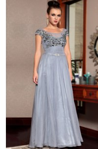 Scoop Grey Cap Sleeves Beading and Sequins and Ruching and Belt Floor Length Dress for Prom