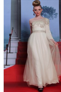 Attractive One Shoulder Beading and Appliques Prom Dress Champagne Side Zipper 3 4 Length Sleeve Floor Length