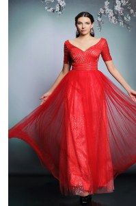 Short Sleeves Zipper Floor Length Sequins Prom Dresses