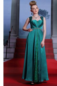 Ankle Length Peacock Green Prom Gown Elastic Woven Satin Sleeveless Beading and Lace