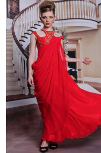Shining Red Scoop Side Zipper Beading and Appliques Prom Gown Sleeveless