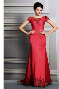 Scoop Short Sleeves Appliques Clasp Handle Evening Dress with Red Court Train
